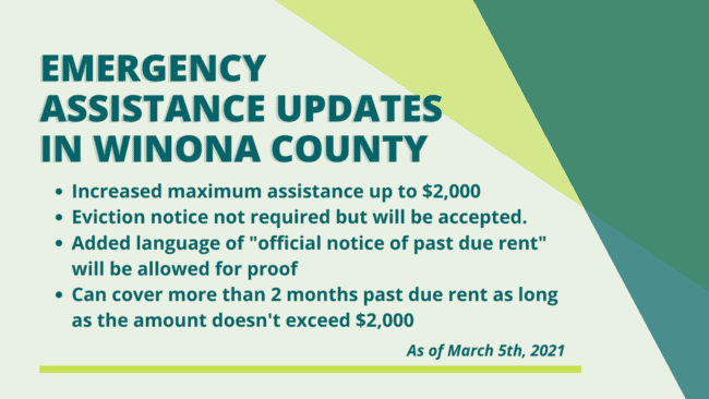 Emergency assistance updates in Winona County